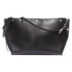 CELINE PHOEBE PHILO Sailor Medium black leather silver stud shoulder bag