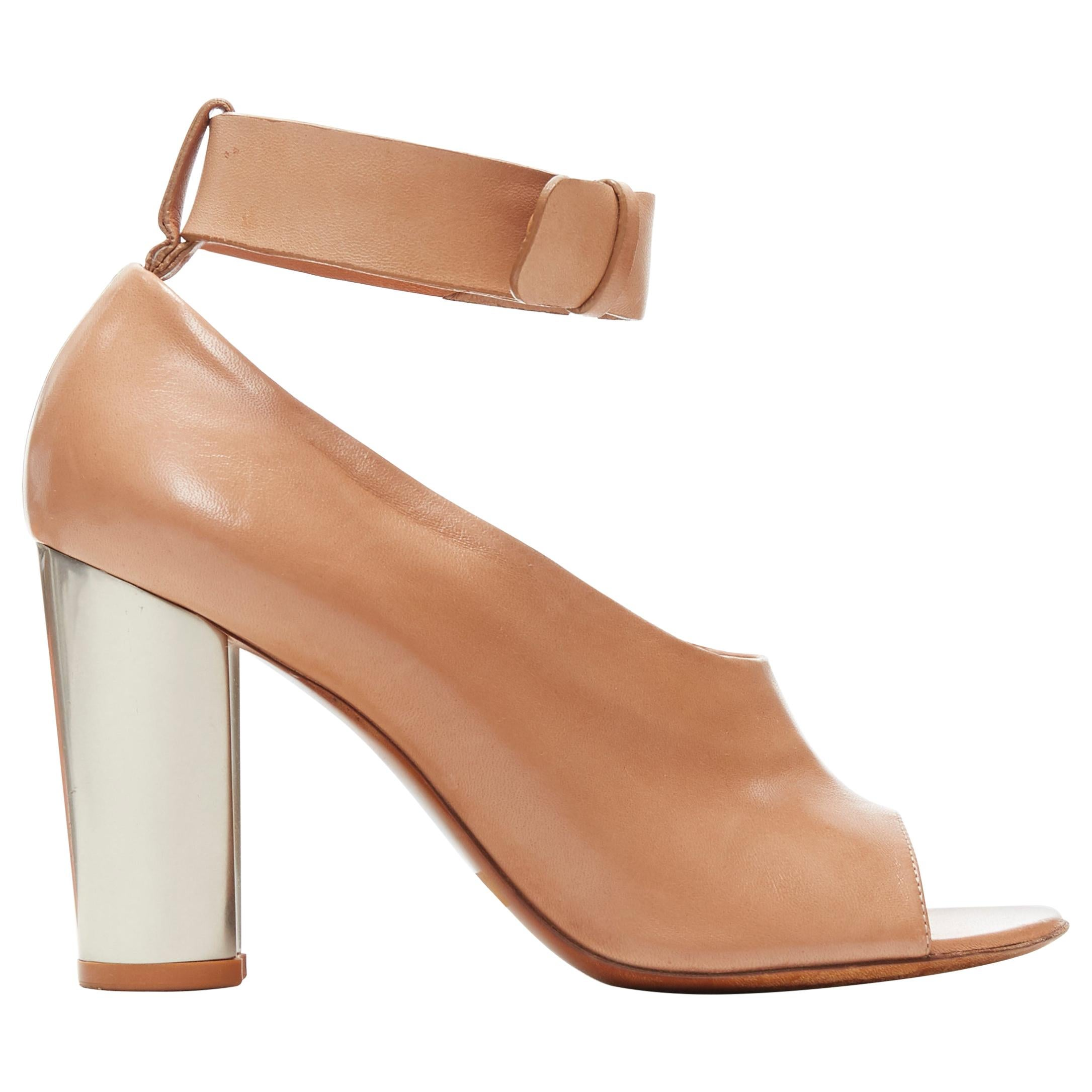 CELINE PHOEBE PHILO tan brown leather open toe silver metal glove heel EU37.5