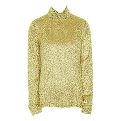 CELINE PHOEBE PHILO yellow fluffy yarn embellished mock neck top FR40 M