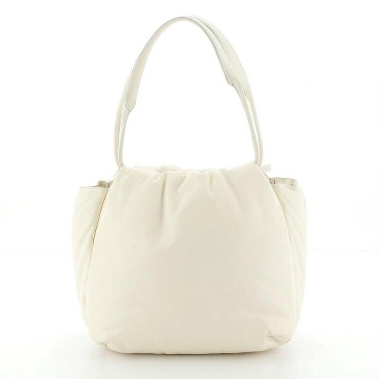Beige Celine Pillow Bucket Bag Leather