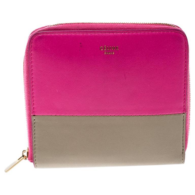Celine Pink/Beige Leather Zip Around Compact Wallet