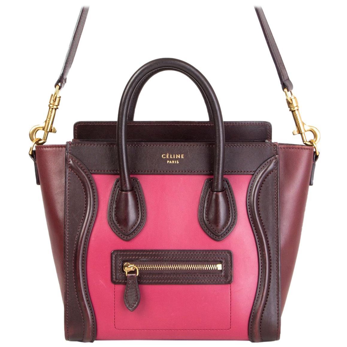 CELINE pink burgundy & maroon leather TRI-COLORED NANO LUGGAGE Tote Shoulder Bag