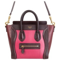 CELINE pink burgundy & maroon leather TRI-COLORED NANO LUGGAGE Tote Shoulder Bag