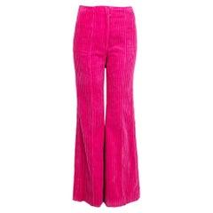 CELINE pink cotton corduroy High Waisted Flared Pants 34 XXS