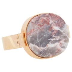 CELINE pink grey signet marble stone face gold-tone metal bracelet cuff bangle