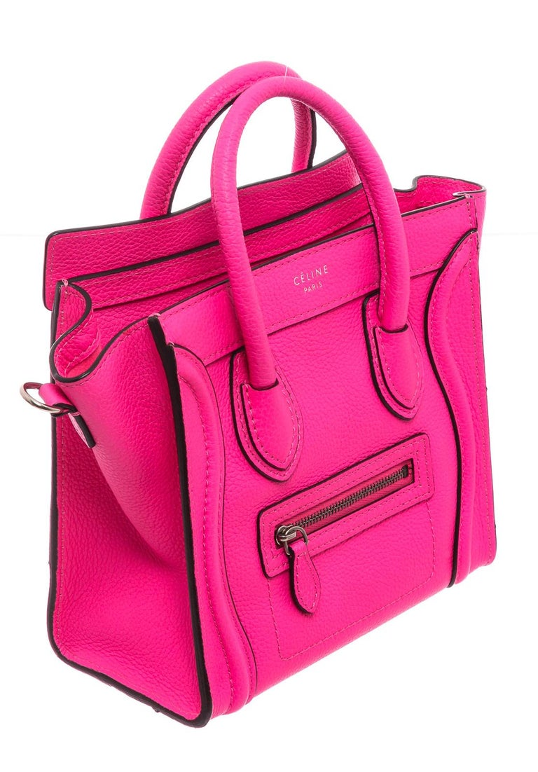 Céline Pink Leather Nano Luggage Tote Cross Body Bag In Good Condition In Irvine, CA