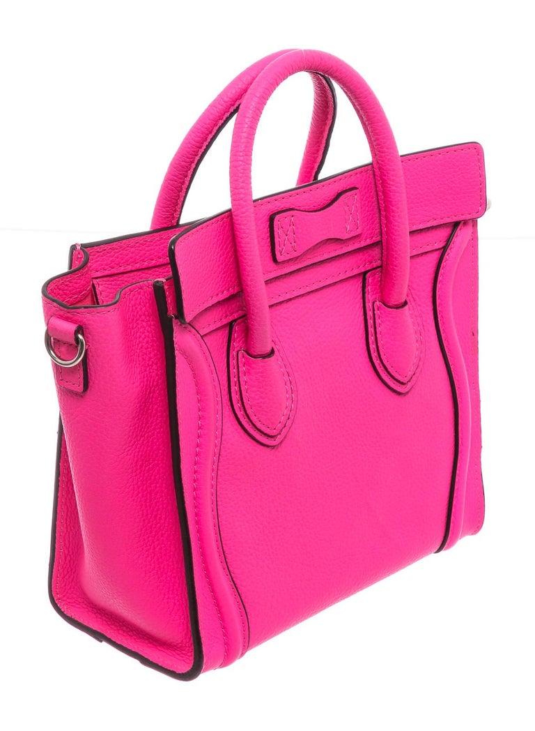 Women's Céline Pink Leather Nano Luggage Tote Cross Body Bag