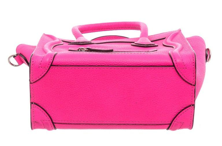 Céline Pink Leather Nano Luggage Tote Cross Body Bag 1