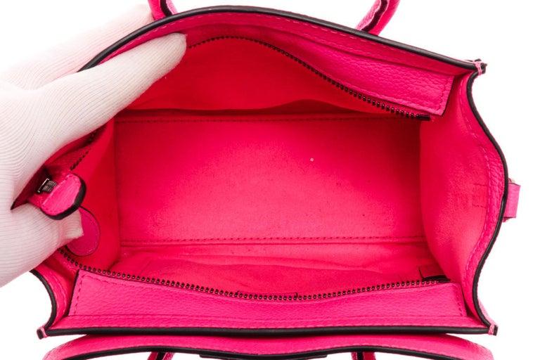 Céline Pink Leather Nano Luggage Tote Cross Body Bag 4