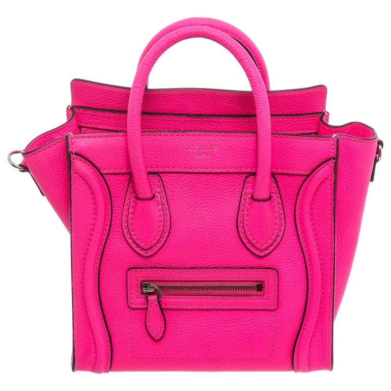 Céline Pink Leather Nano Luggage Tote Cross Body Bag