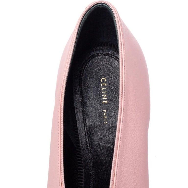Celine Pink Leather V Neck Nappa Pumps Size 39 For Sale 2