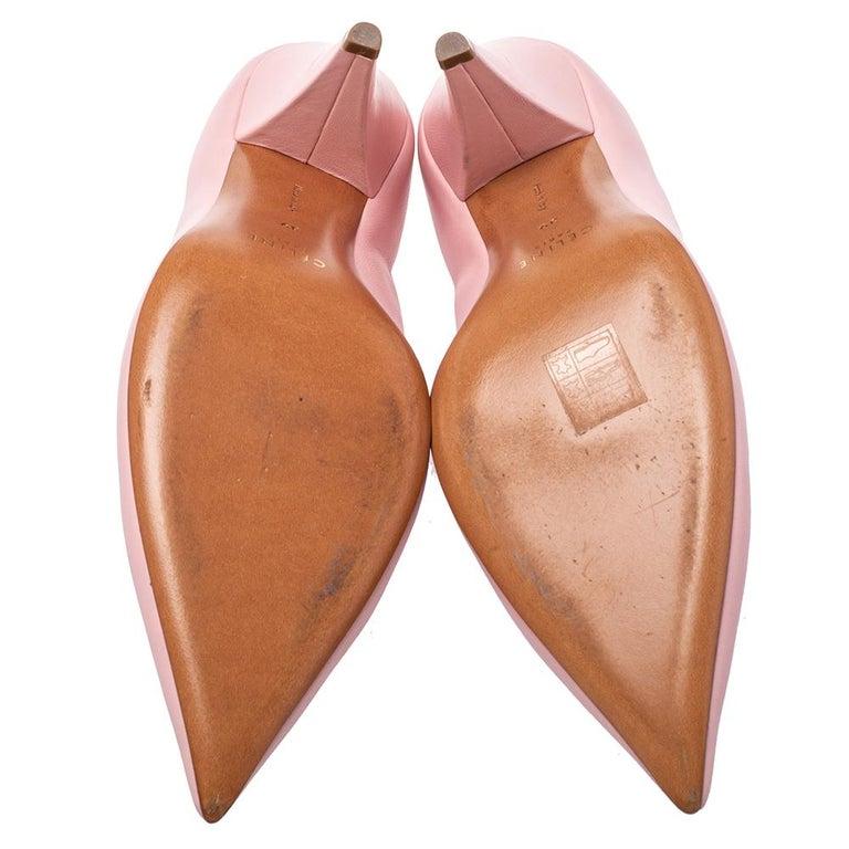 Celine Pink Leather V Neck Nappa Pumps Size 39 For Sale 3