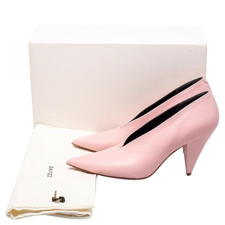 Celine Pink Leather V Neck Nappa Pumps Size 39 For Sale 4