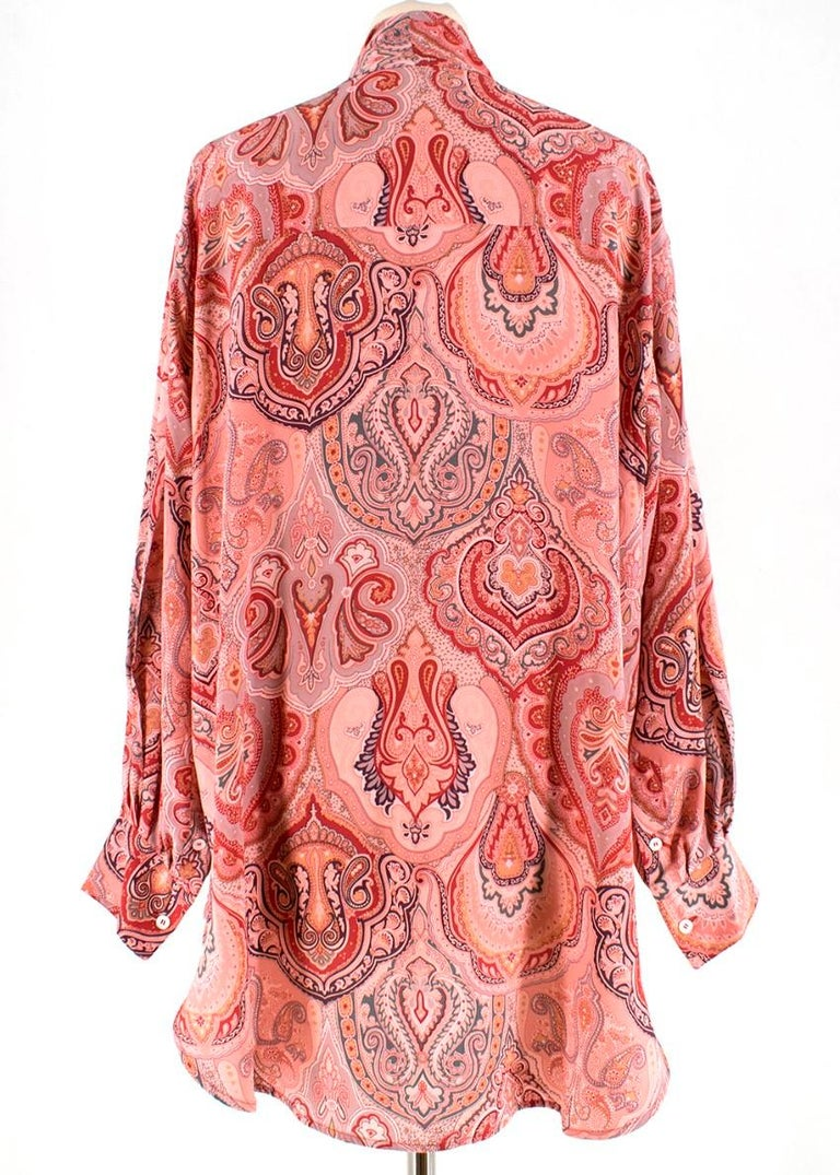 Celine Pink Paisley Pussy Bow Oversize Shirt - Size US 4 In New Condition For Sale In London, GB