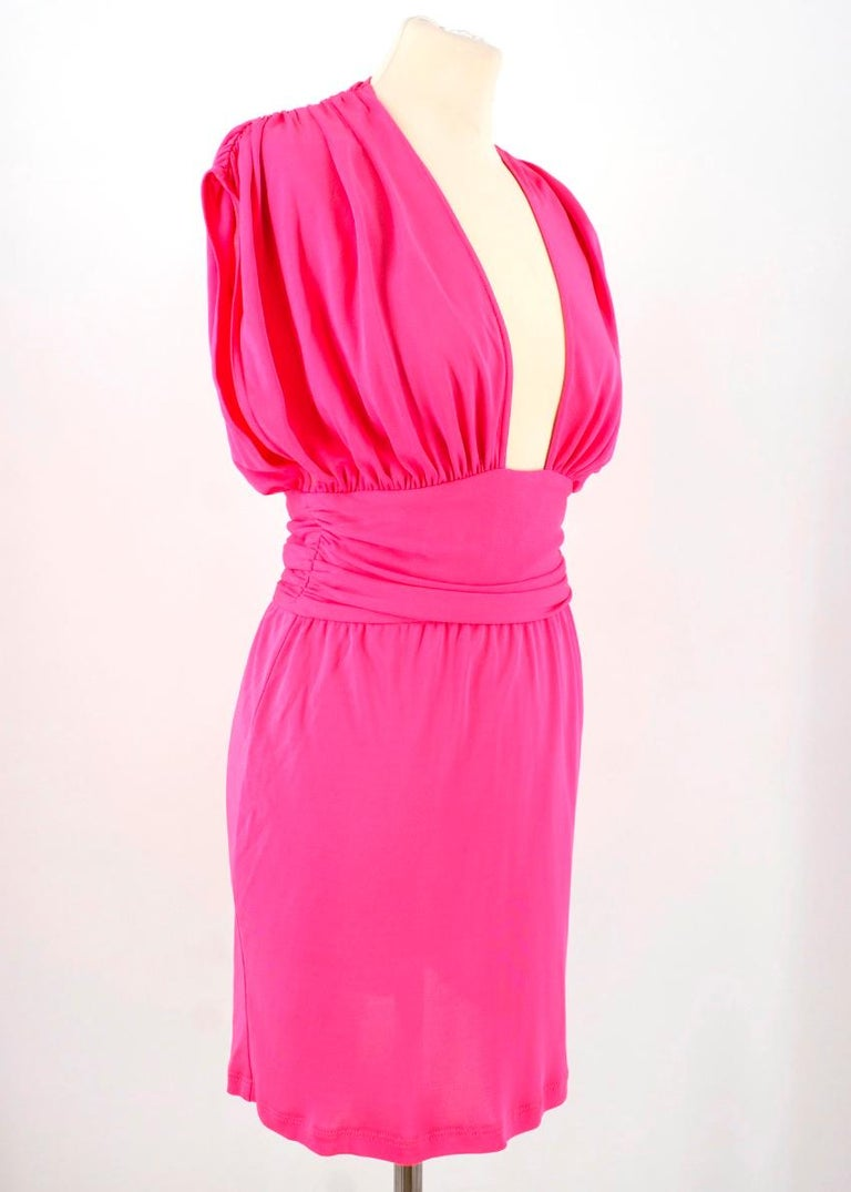 Celine Pleated Pink Dress - Size US 8 For Sale 4