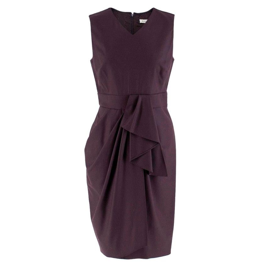 Celine Plum Purple Wool Blend Draped Dress - Size US 6