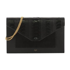 Celine Pocket Envelope Wallet on Chain Ostrich with Leather and Suede Medium