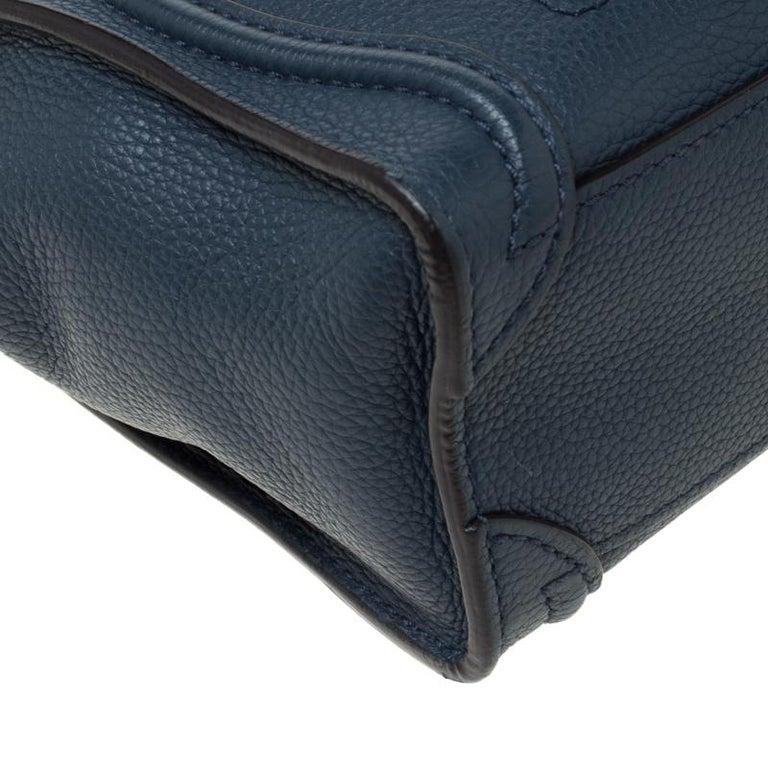 Celine Prussian Leather Nano Luggage Tote For Sale 5