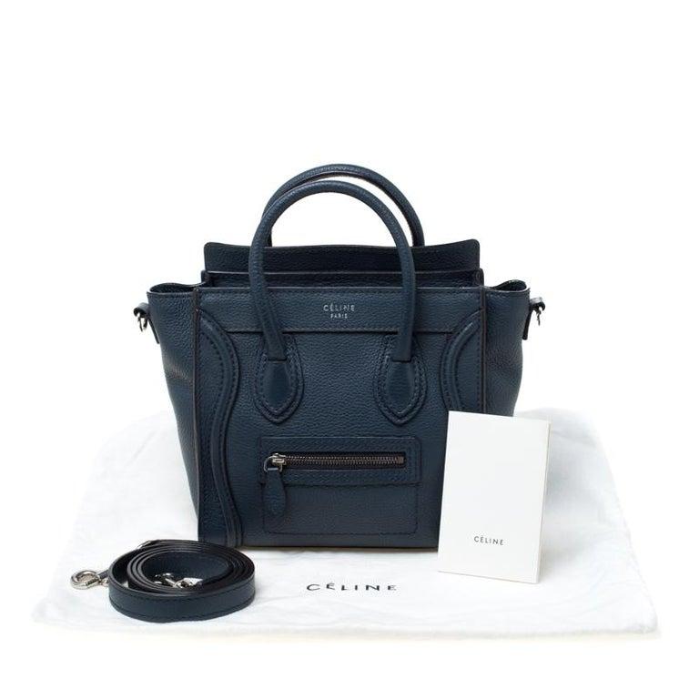 Celine Prussian Leather Nano Luggage Tote For Sale 7