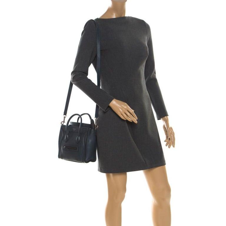Black Celine Prussian Leather Nano Luggage Tote For Sale