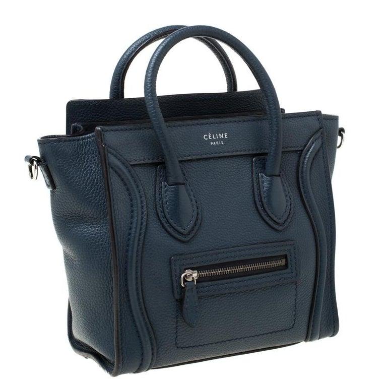 Celine Prussian Leather Nano Luggage Tote In Good Condition For Sale In Dubai, Al Qouz 2