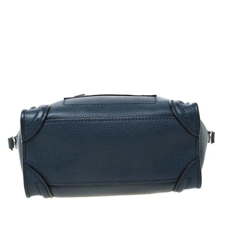 Women's Celine Prussian Leather Nano Luggage Tote For Sale