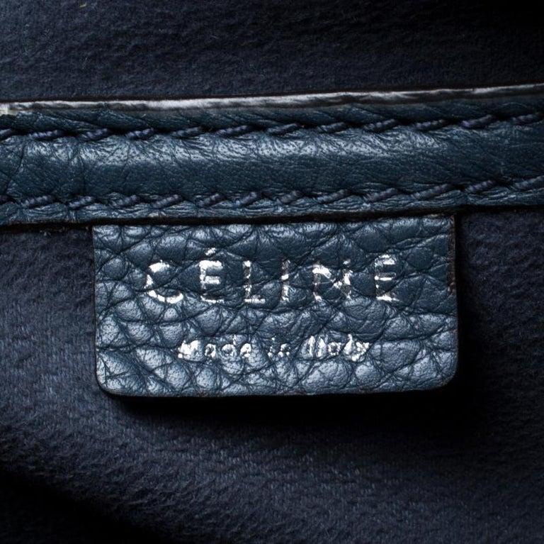 Celine Prussian Leather Nano Luggage Tote For Sale 2