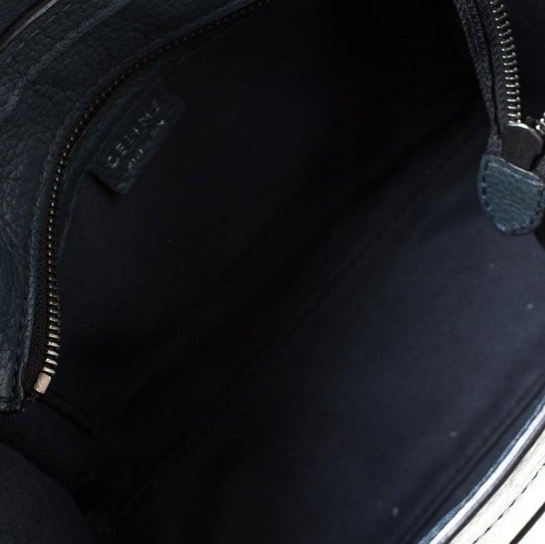 Celine Prussian Leather Nano Luggage Tote For Sale 3