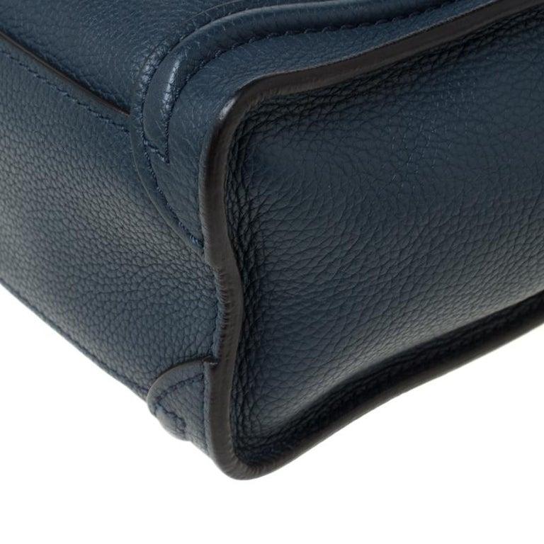 Celine Prussian Leather Nano Luggage Tote For Sale 4
