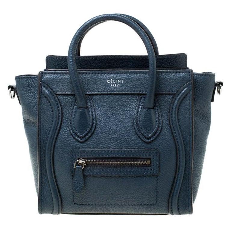 Celine Prussian Leather Nano Luggage Tote For Sale
