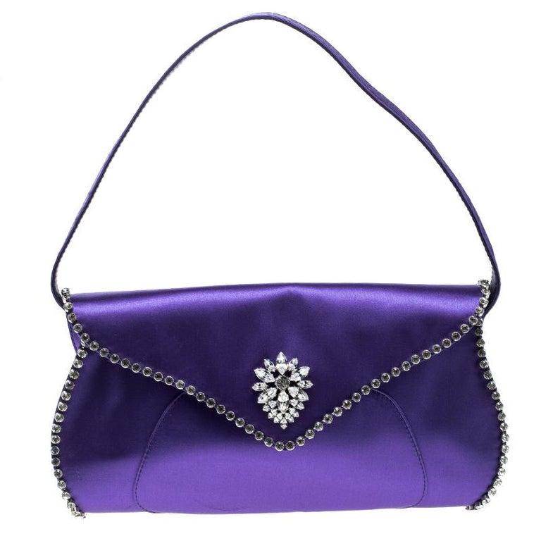 Celine Purple Satin Crystal Embellished Shoulder Bag at 1stdibs 0aadd99bfbc55