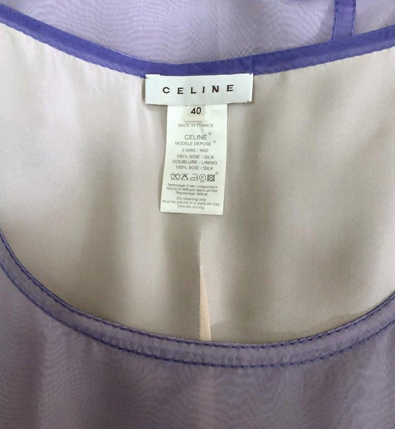 Celine Purple Silk Dress and Coat Ensemble For Sale 6
