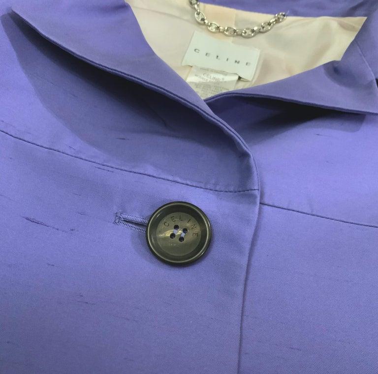 Celine Purple Silk Dress and Coat Ensemble For Sale 4