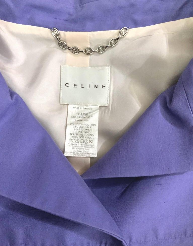 Celine Purple Silk Dress and Coat Ensemble For Sale 5