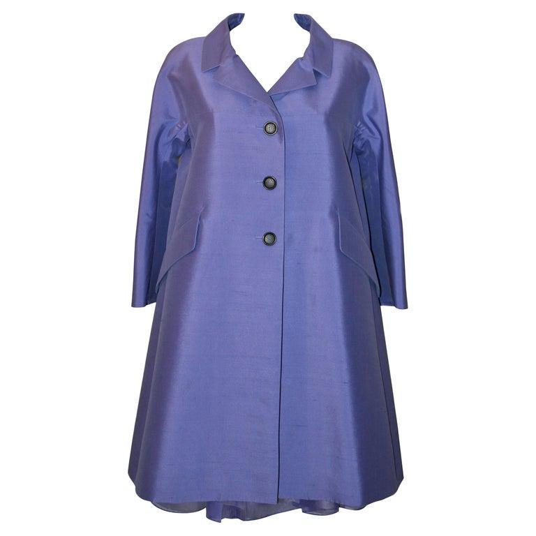 Celine Purple Silk Dress and Coat Ensemble For Sale