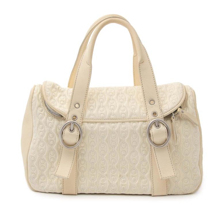 Beige Celine Quilted Creme Front Pocket Handbag For Sale