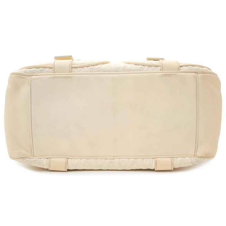 Women's Celine Quilted Creme Front Pocket Handbag For Sale