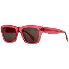 Celine Red Acetate Square Frame Sunglasses