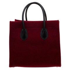 Celine Red/Black Felt and Leather Medium Phantom Luggage Tote