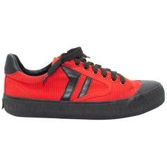 Celine Red & Black Plimsole Low-Top Sneakers