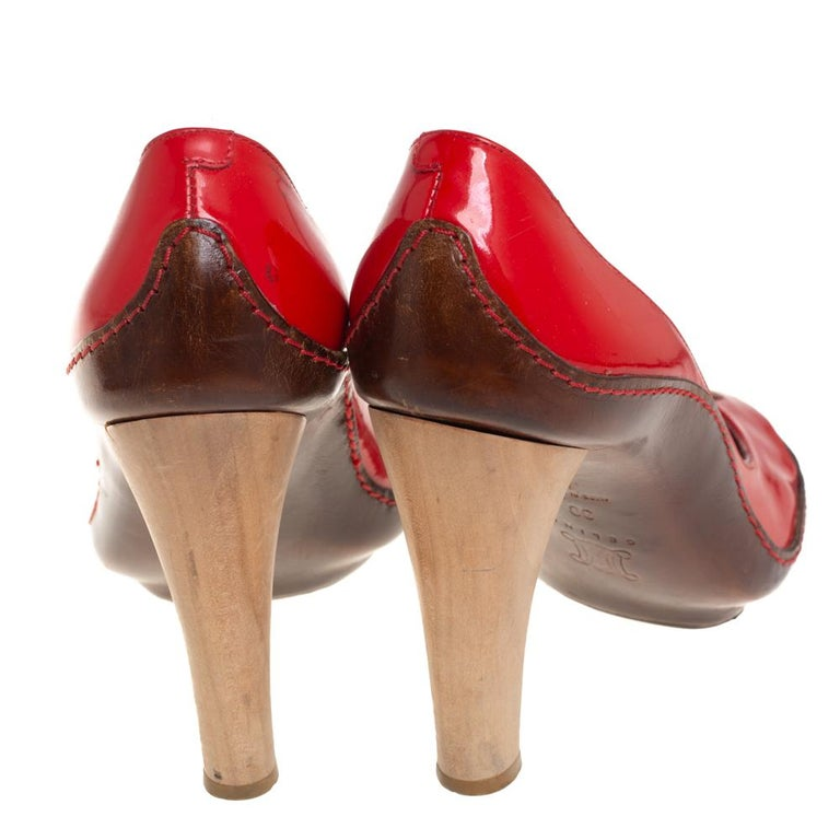 Celine Red/Brown Leather and Patent Leather Pick Toe Pumps Size 39 For Sale 2