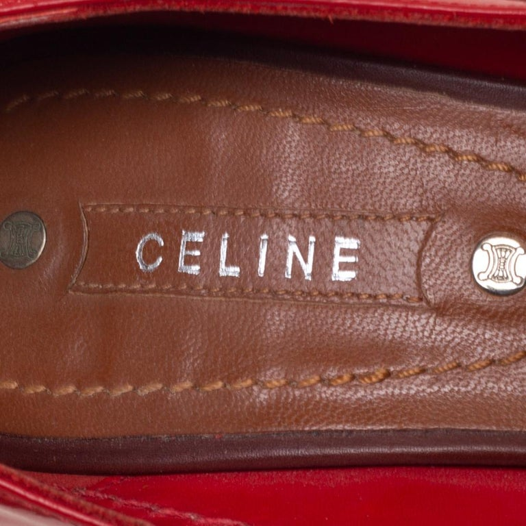 Celine Red/Brown Leather and Patent Leather Pick Toe Pumps Size 39 For Sale 3