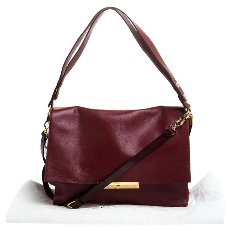 Celine Red Calfskin Leather Blade Flap Bag For Sale 9