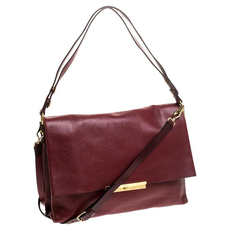 Women's Celine Red Calfskin Leather Blade Flap Bag For Sale