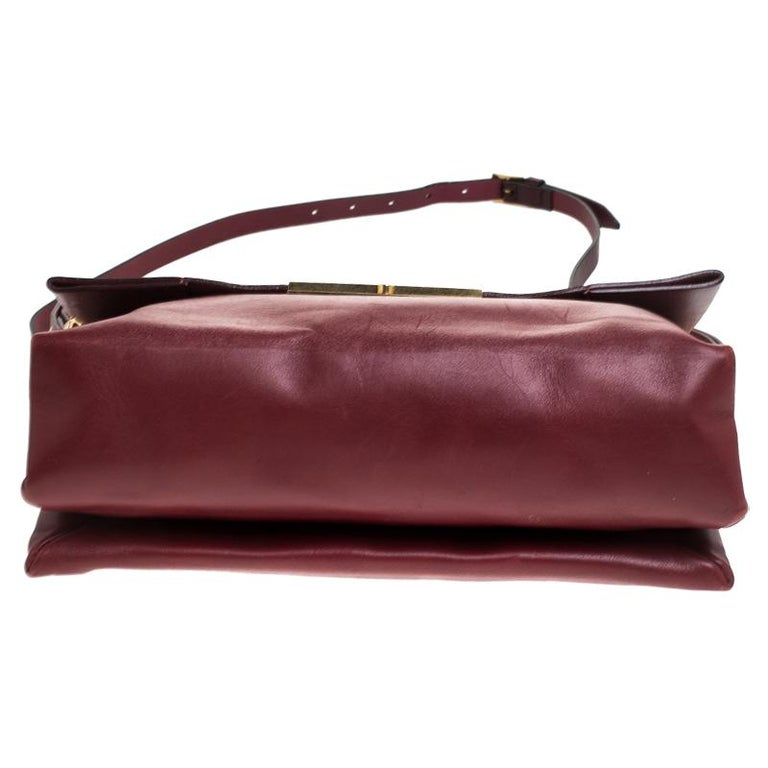 Celine Red Calfskin Leather Blade Flap Bag For Sale 1