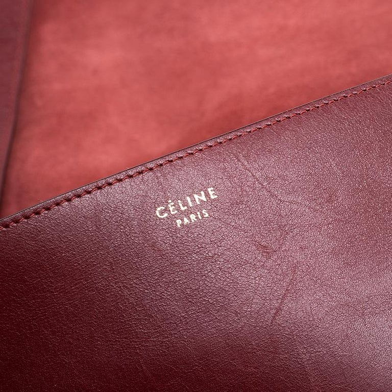 Celine Red Calfskin Leather Blade Flap Bag For Sale 5