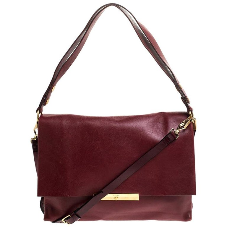 Celine Red Calfskin Leather Blade Flap Bag For Sale