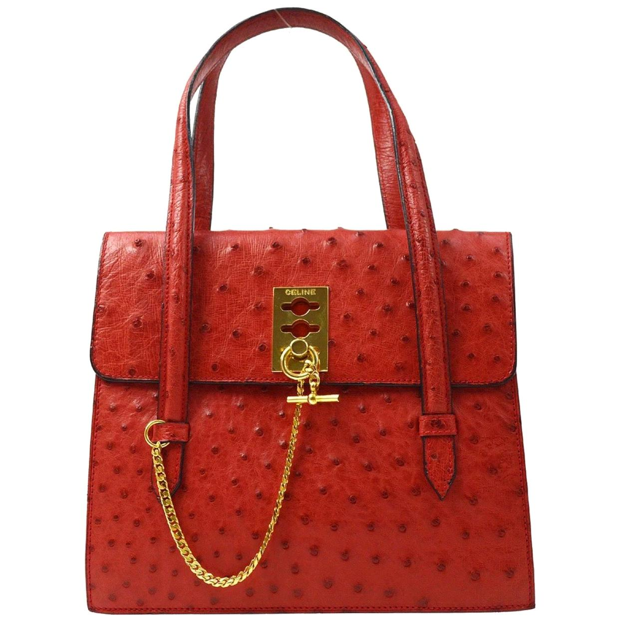 Celine Red Exotic Skin Leather Gold Chain Kelly  Top Handle Satchel Flap Bag