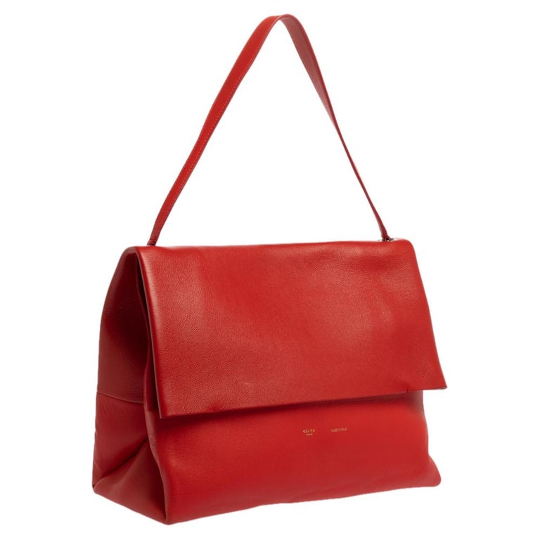 Women's Celine Red Leather All Soft Shoulder Bag For Sale