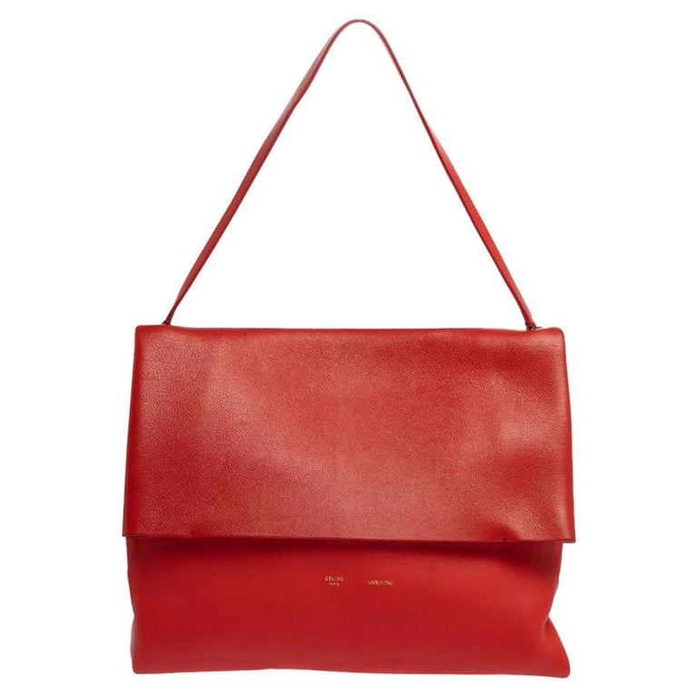 Celine Red Leather All Soft Shoulder Bag For Sale
